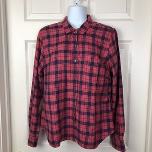 UNTUCKit Red Blue Plaid Cotton Button Up Down 10 M